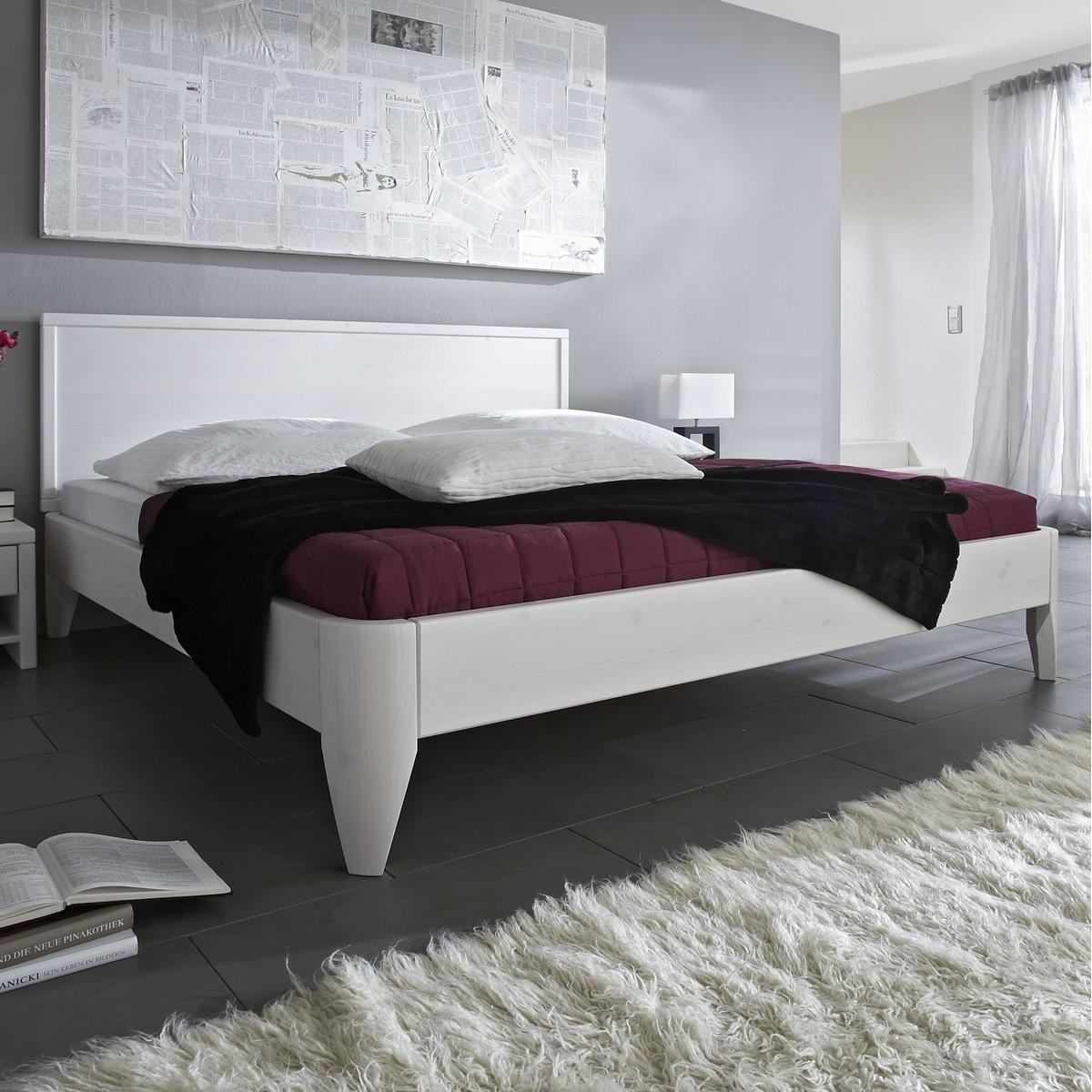 massivholz bett 160x200 easy sleep kiefer massiv wei. Black Bedroom Furniture Sets. Home Design Ideas