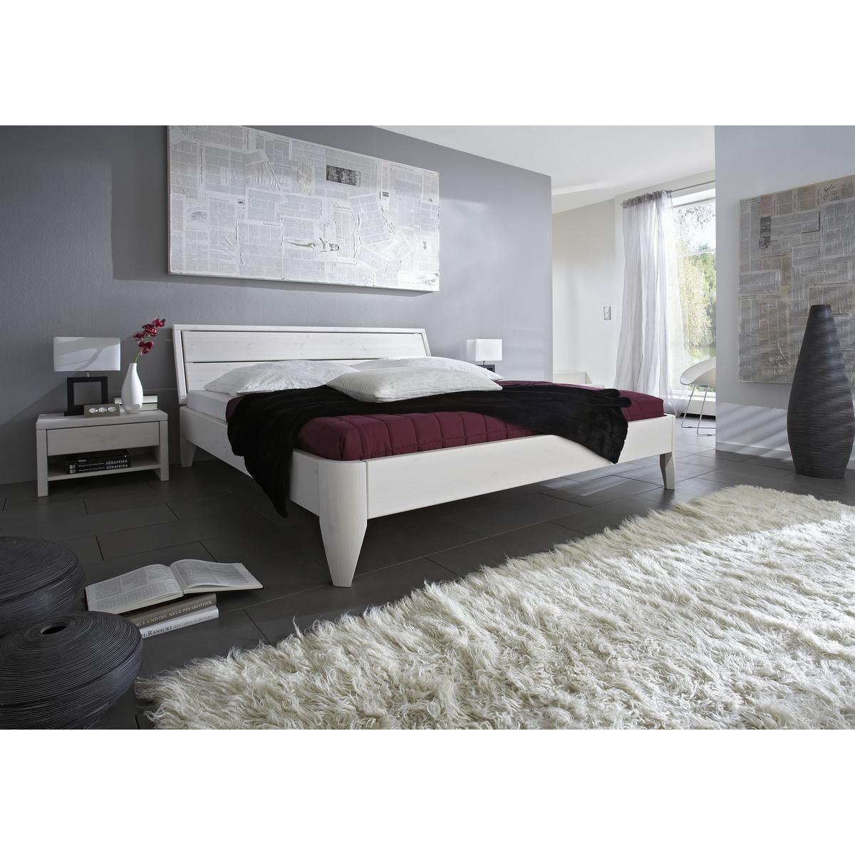 massivholz bett 140x200 easy sleep kiefer massiv wei. Black Bedroom Furniture Sets. Home Design Ideas