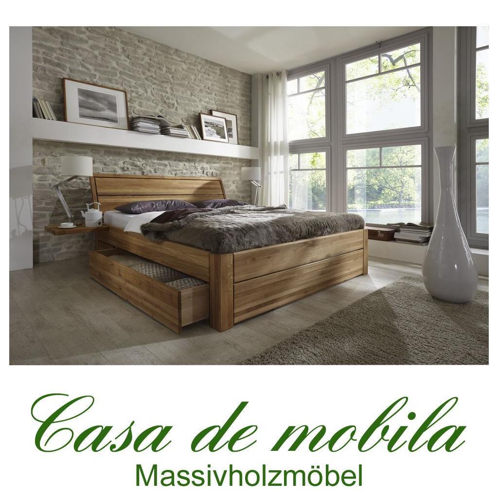 Massivholz Schubkastenbett 90x200 Easy Sleep Eiche Massiv Geolt 9409