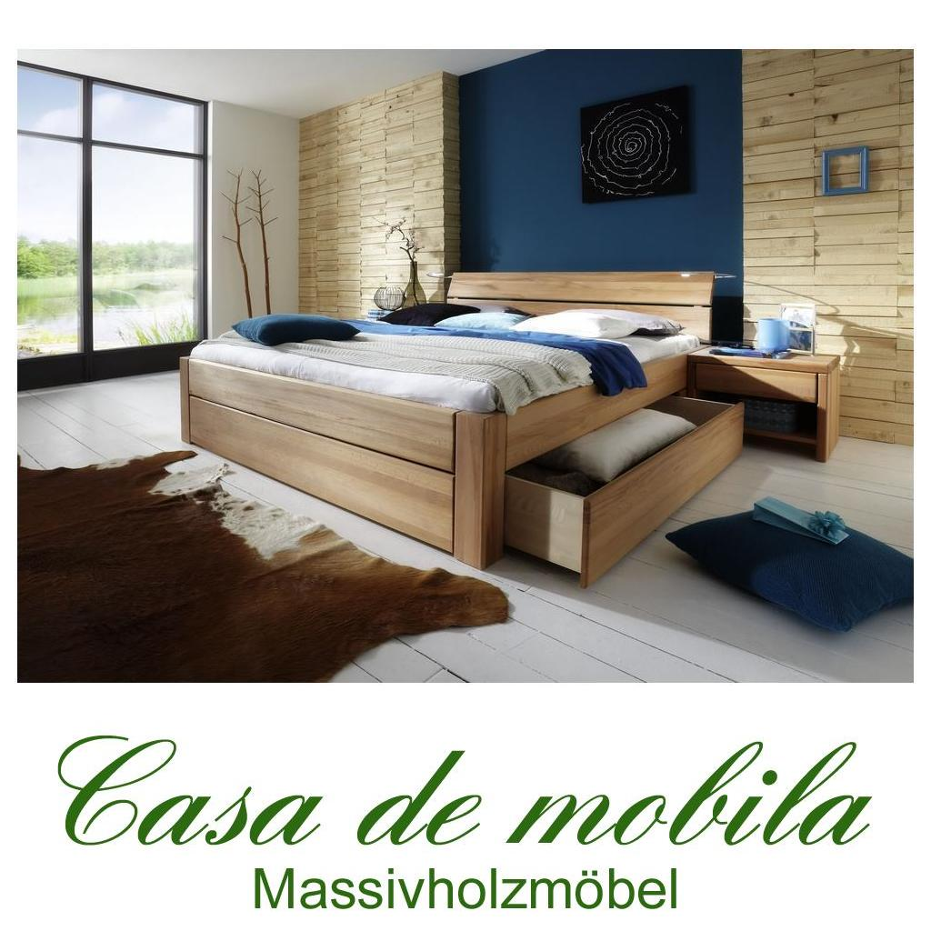 massivholz schubkastenbett 90x200 easy sleep kernbuche massiv ge lt. Black Bedroom Furniture Sets. Home Design Ideas