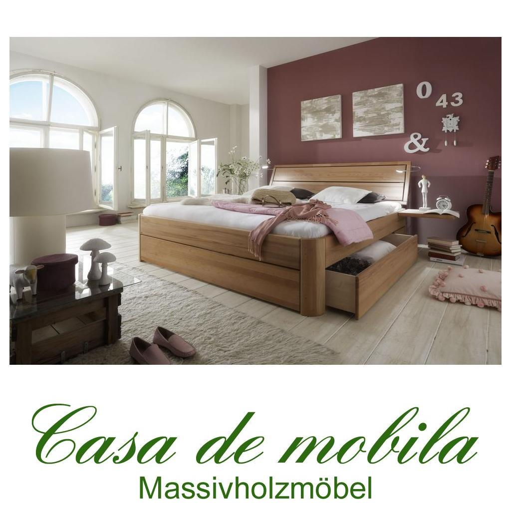 Massivholz schubkastenbett 140x200 easy sleep kernbuche - Schubladenbett 140x200 ...