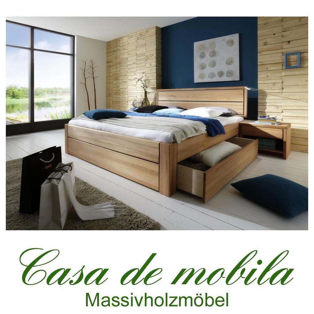 massivholz schubkastenbett 200x200 easy sleep kernbuche