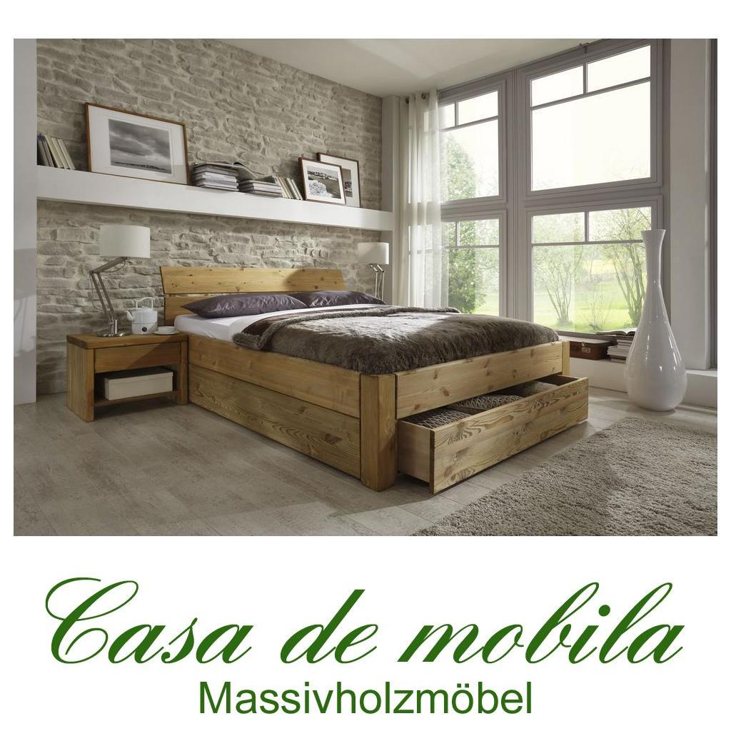 echtholz bett mit schubladen kiefer massiv gelaugt ge lt. Black Bedroom Furniture Sets. Home Design Ideas