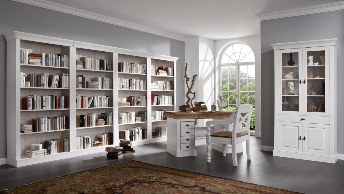 landhaus bibliothek b cherwand regalwand kiefer wei lackiert bergen. Black Bedroom Furniture Sets. Home Design Ideas