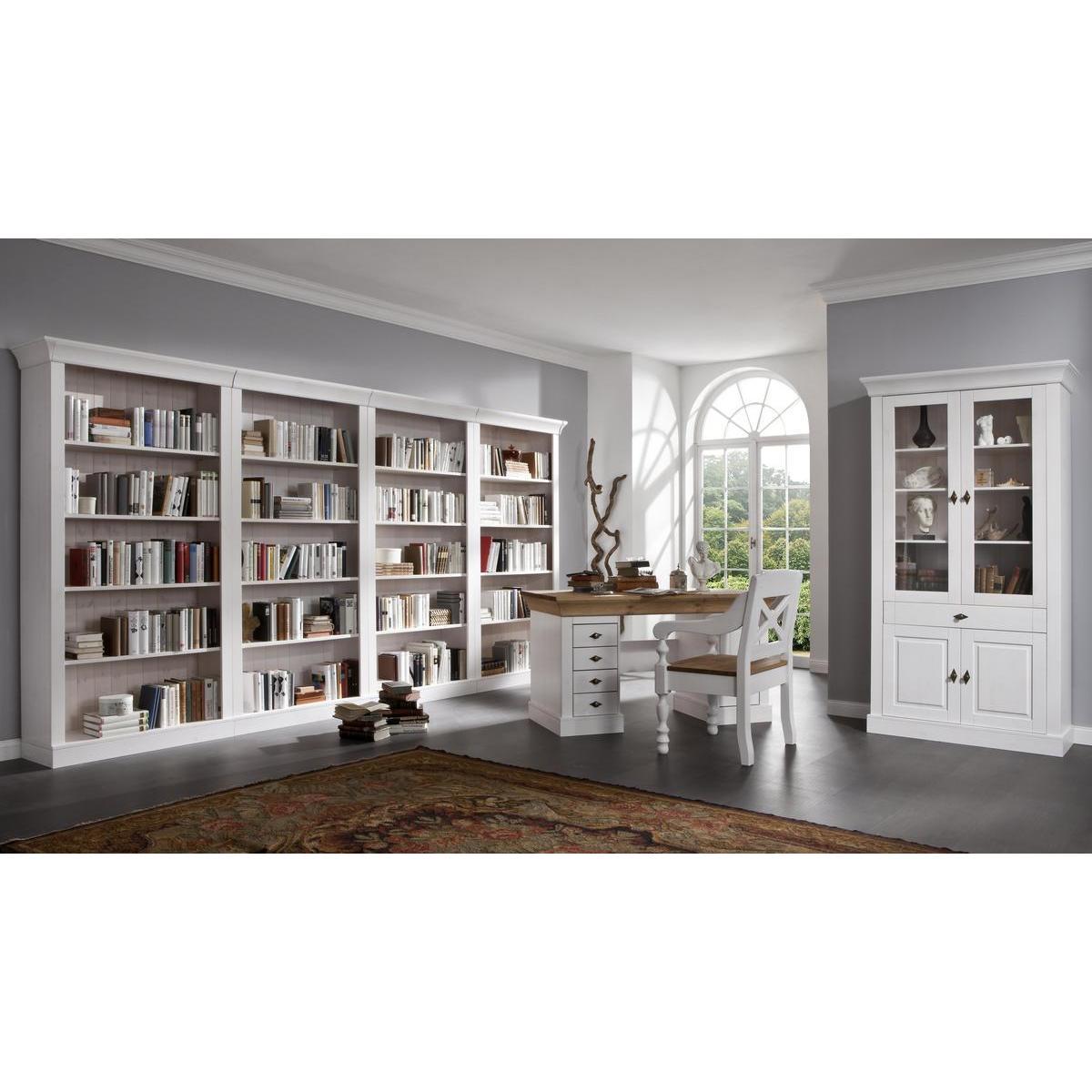 Landhaus Schreibtisch Kiefer massiv weiß/honig gebeizt/lackiert ...