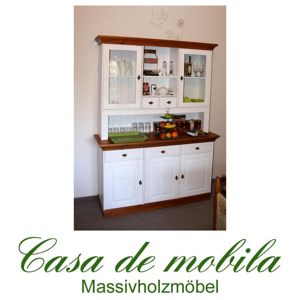 Massivholz Buffetschrank Bergen - Holz Kiefer massiv 2-farbig weiß ... | {Küchenschrank weiß landhausstil 97}