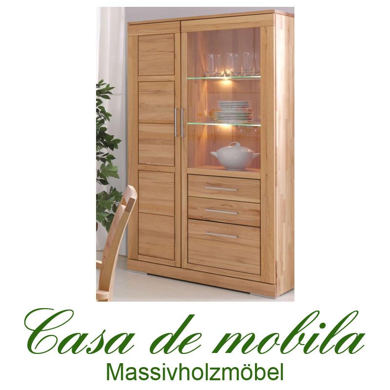 wohnzimmerschrank vitrine holz rotkernbuche massiv natur ge lt casera. Black Bedroom Furniture Sets. Home Design Ideas