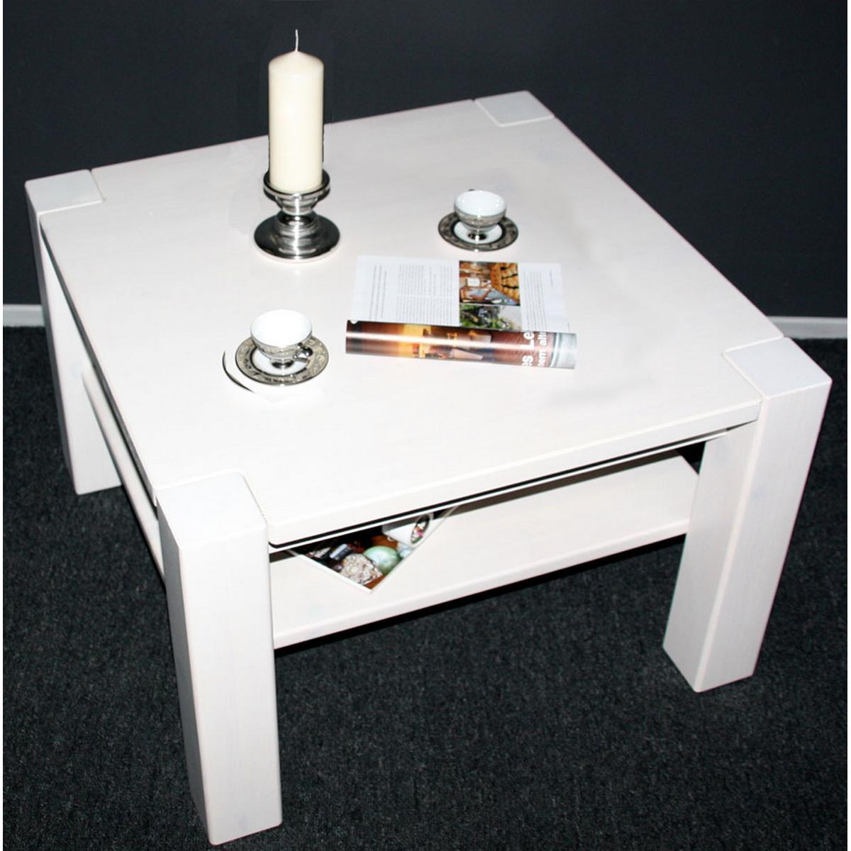 vollholz couchtisch 74x74 kiefer massiv wei lasiert bei. Black Bedroom Furniture Sets. Home Design Ideas