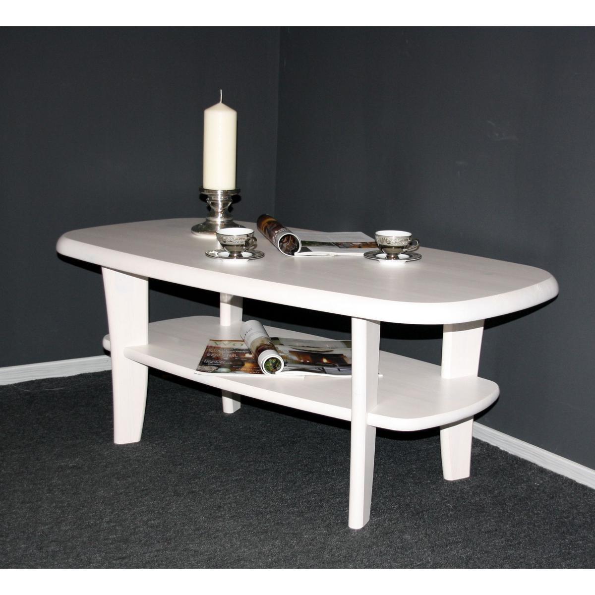 vollholz couchtisch mit ablage oval wei lasiert 116x61. Black Bedroom Furniture Sets. Home Design Ideas