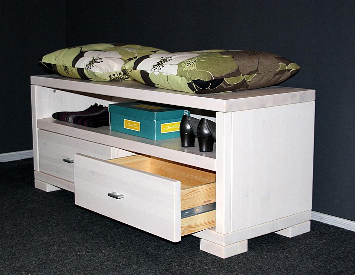 massivholz dielenbank flurbank guldborg kiefer massiv wei lasiert. Black Bedroom Furniture Sets. Home Design Ideas