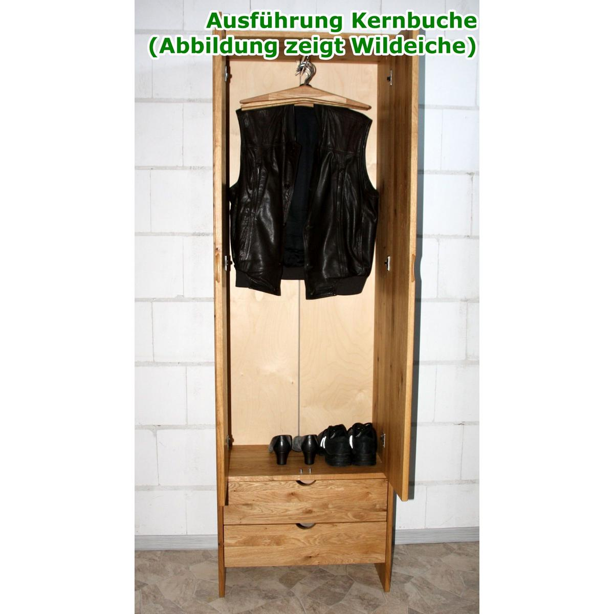 dielenschrank flurschrank schmal holz kernbuche natur. Black Bedroom Furniture Sets. Home Design Ideas