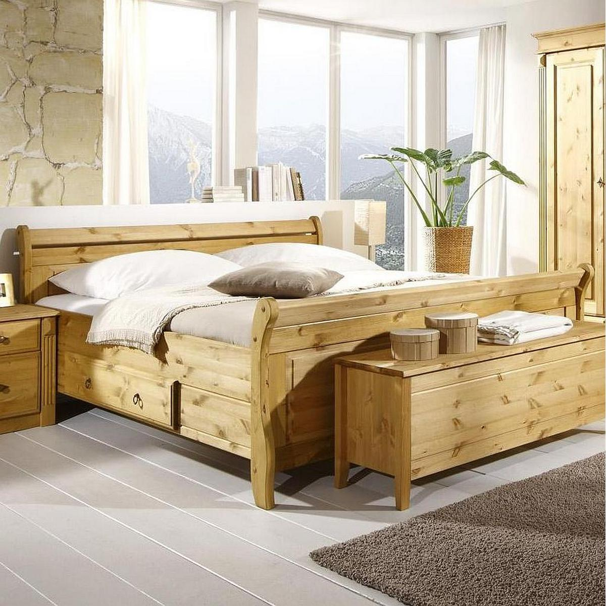 landhaus bett mit schubladen 180x200 massiv holz kiefer. Black Bedroom Furniture Sets. Home Design Ideas