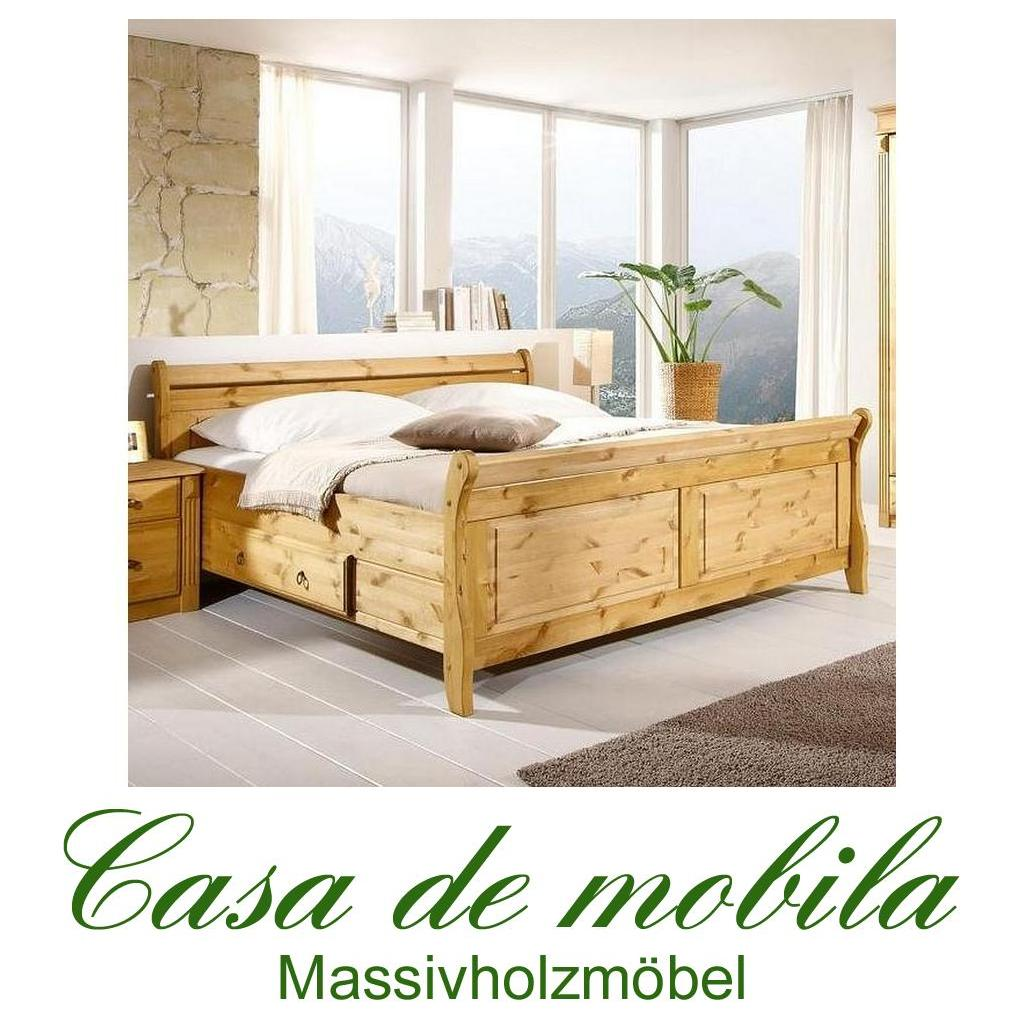 landhaus bett mit schubladen 180x200 massiv holz kiefer gebeizt ge lt. Black Bedroom Furniture Sets. Home Design Ideas