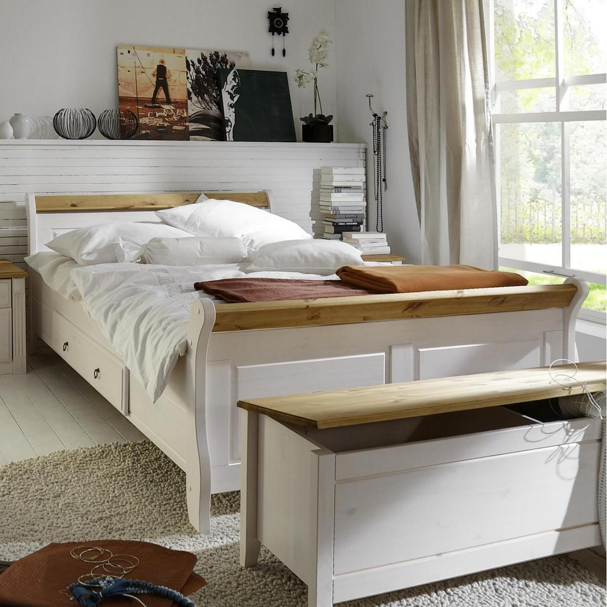 massivholz bett 100x200 eva kiefer massiv 2 farbig wei lackiert gelaugt ge lt. Black Bedroom Furniture Sets. Home Design Ideas