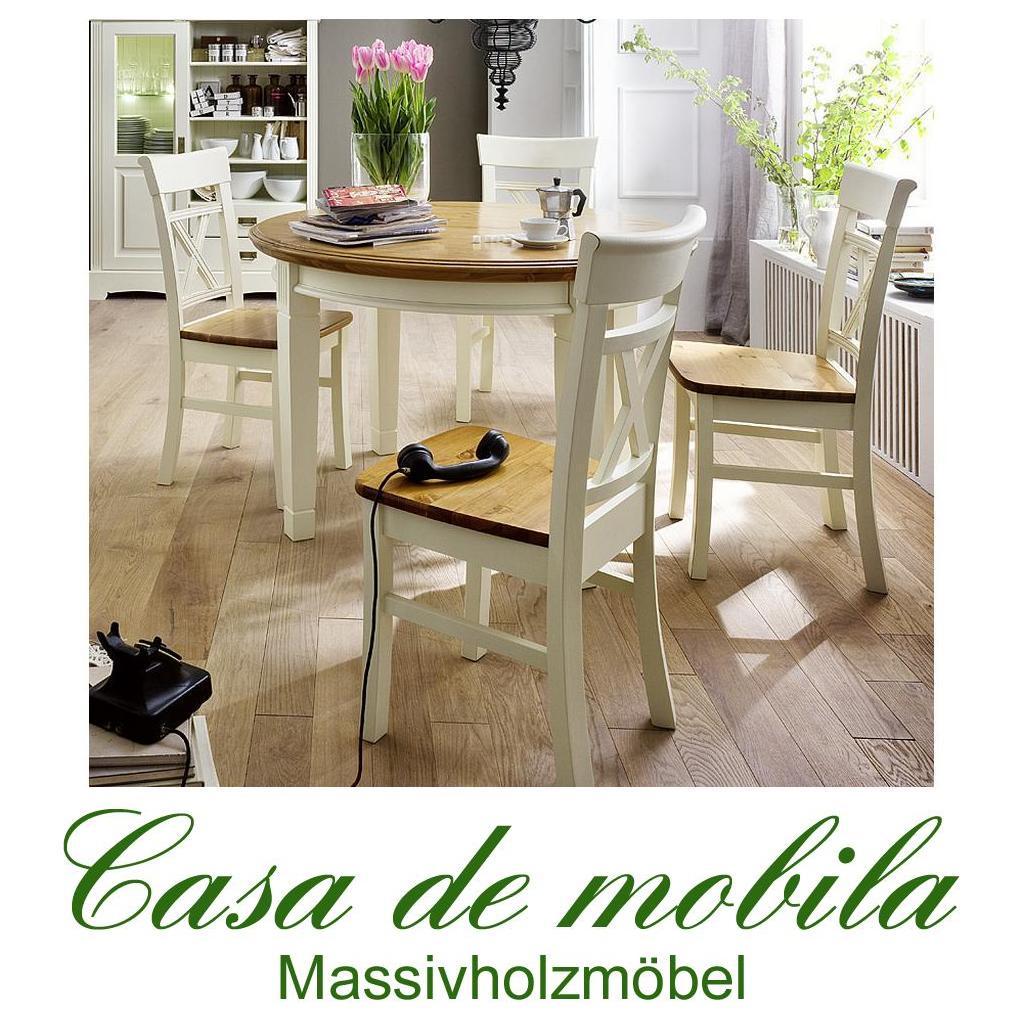 Nice Esszimmer Weiss Vintage 2 #11: Massivholz Esszimmer-Garnitur Kiefer Massiv 2-farbig Weiß Goldbraun  Landhausstil PARIS - Vintage,