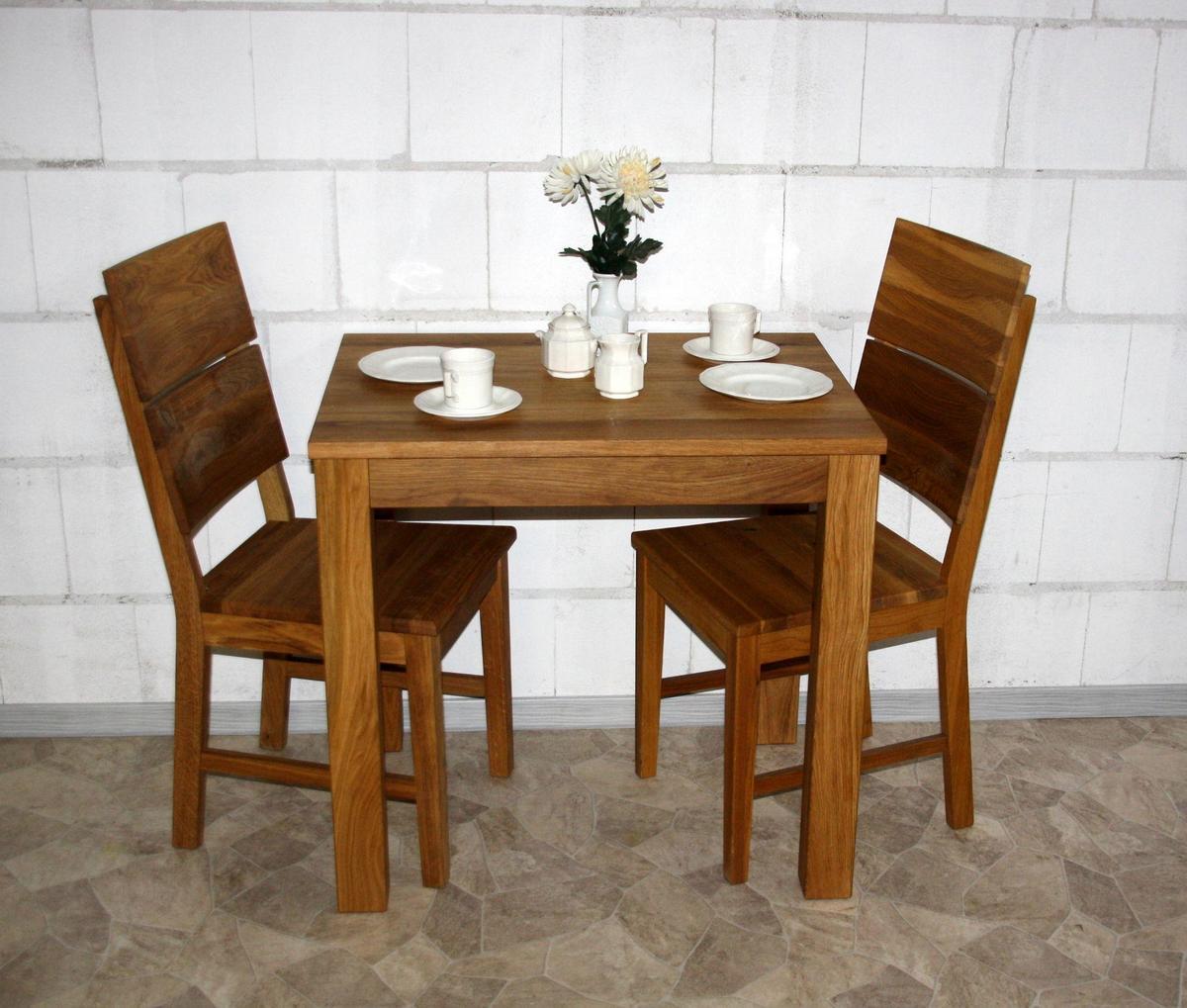 tischgruppe essgruppe 3 teilig kleine tisch st hle holz wildeiche massiv ge lt diez. Black Bedroom Furniture Sets. Home Design Ideas
