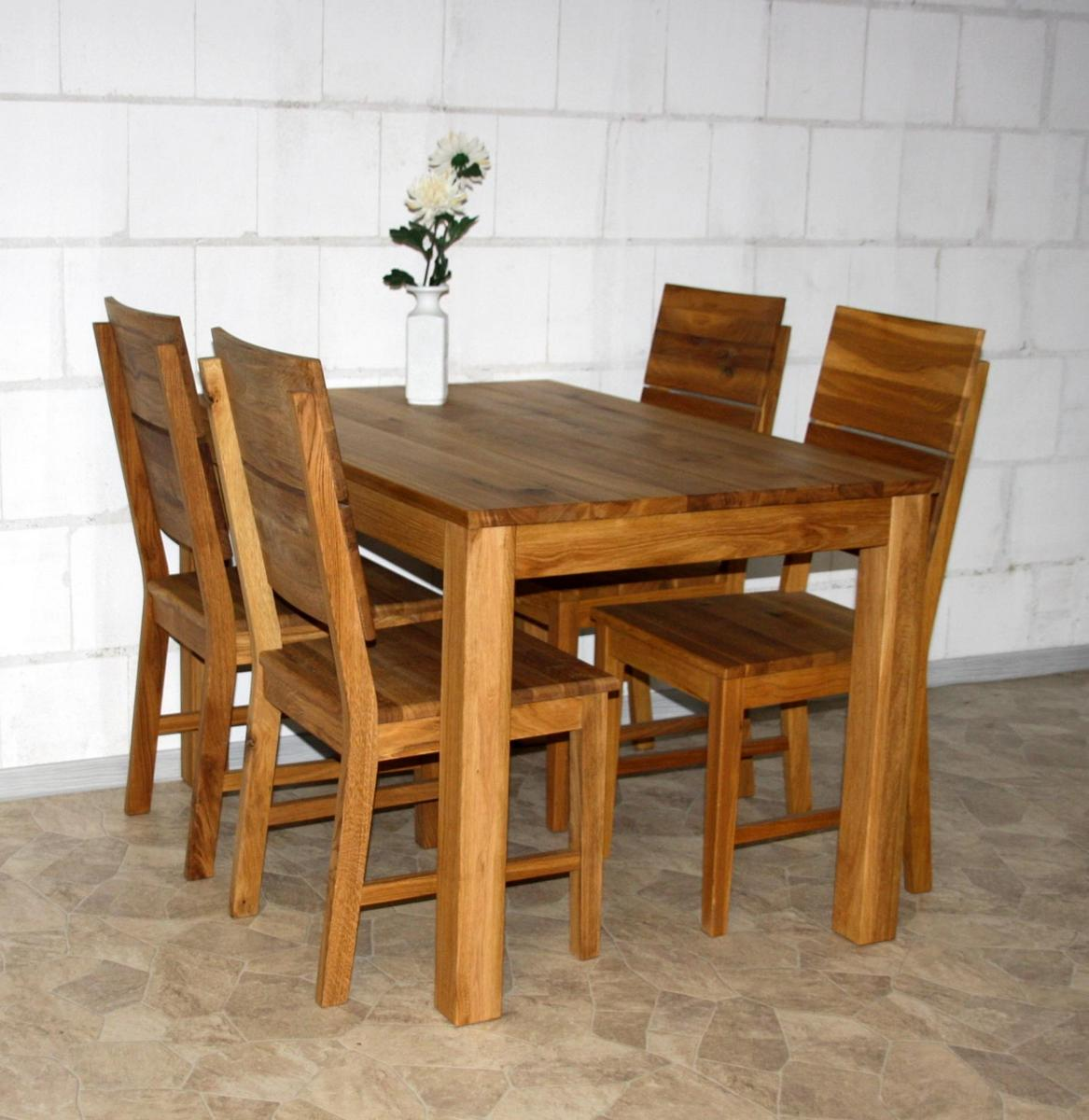 massivholz essgruppe tischgruppe komplett wildeiche massiv. Black Bedroom Furniture Sets. Home Design Ideas