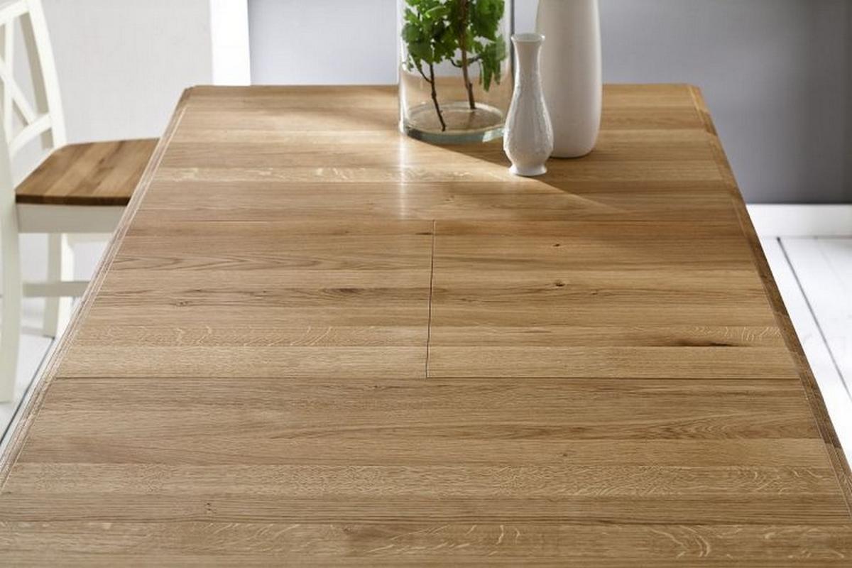 massivholz esstisch erweiterbar 140 200x95 nordic home kiefer massiv wei lackiert wildeiche ge lt. Black Bedroom Furniture Sets. Home Design Ideas