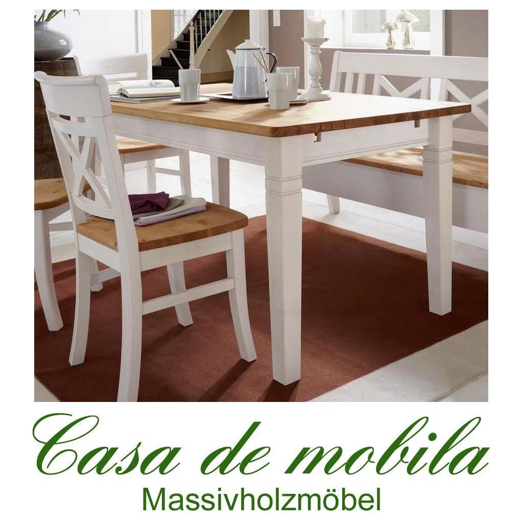 Landhaus Esstisch weiß lackiert gebeizt geölt 140x90 Fjord - Holz ...