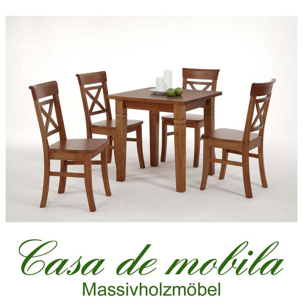 Landhaus Küchentisch Tisch mit Stühle honig Kiefer massiv Fjord