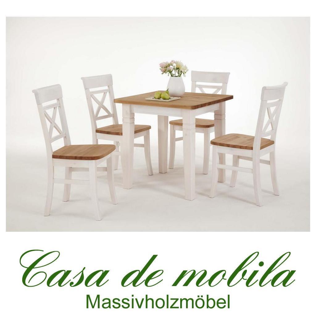 Landhaus Tisch mit Stühle weiß / gebeizt-geölt 2-farbig Kiefer massiv