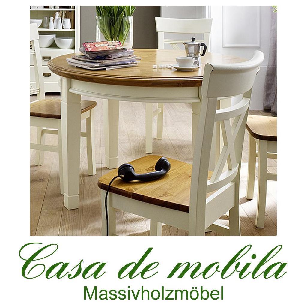 Esstisch weiß rund landhaus  Landhaus Esstisch Tisch rund 120x120 PARIS 2-farbig champagner ...