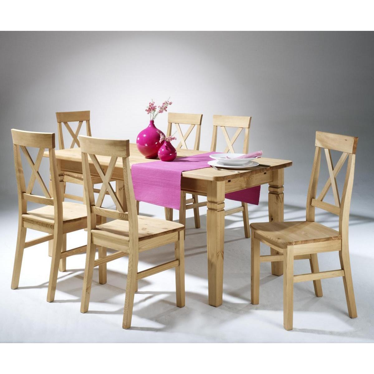 Massivholz Esstisch Mit 6 Stühlen Tischgruppe Kiefer Massiv Gebeizt Geölt  Bergen
