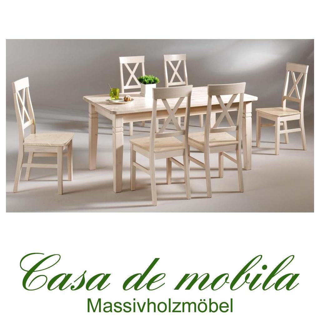 Massivholz Esstisch Mit 6 Stühlen Tischgruppe Kiefer Massiv Weiß Lackiert  Bergen