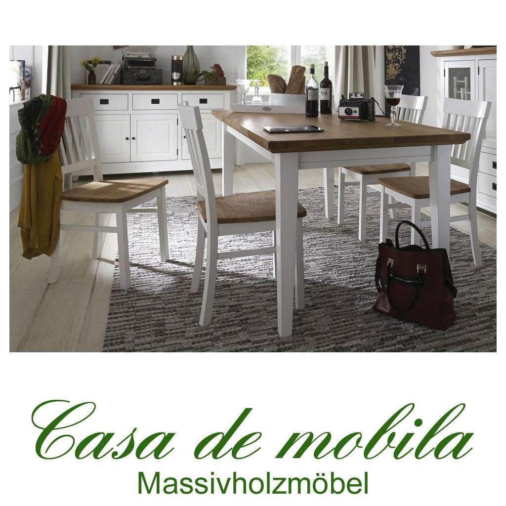 massivholz esszimmer-set 5-teilig buche wildeiche weiß teilmassiv, Esstisch ideennn