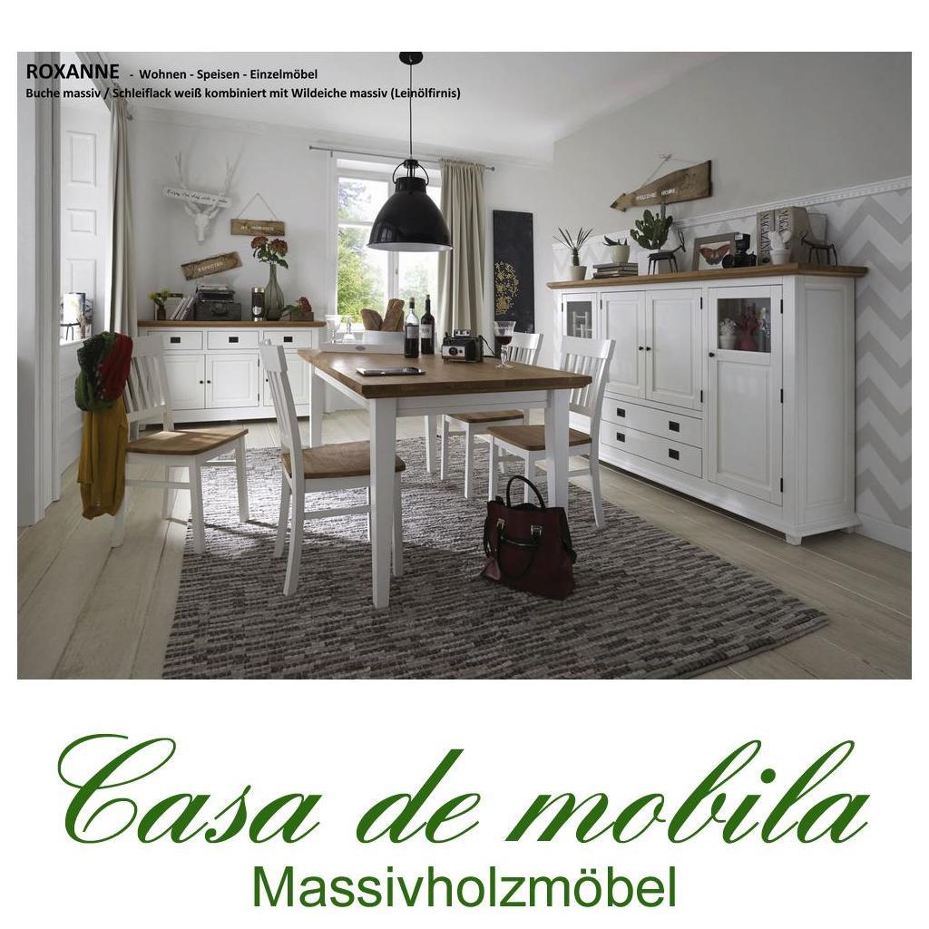 massivholz esszimmer-set 7-teilig buche wildeiche weiß teilmassiv, Esszimmer dekoo