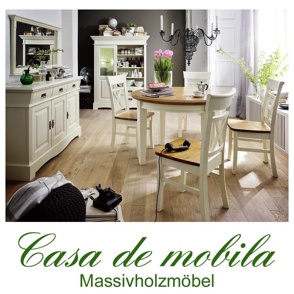 Massivholz Esszimmer Komplett Kiefer Massiv 2 Farbig Weiss Goldbraun Landhausstil PARIS