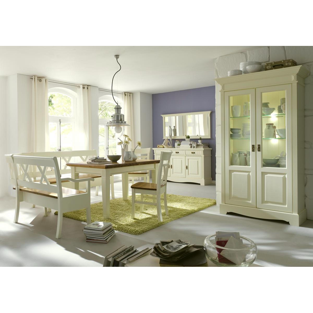 Massivholz Esszimmer Komplett Kiefer Massiv 2 Farbig Weiß Goldbraun  Landhausstil PARIS   Eckbank, Vintage