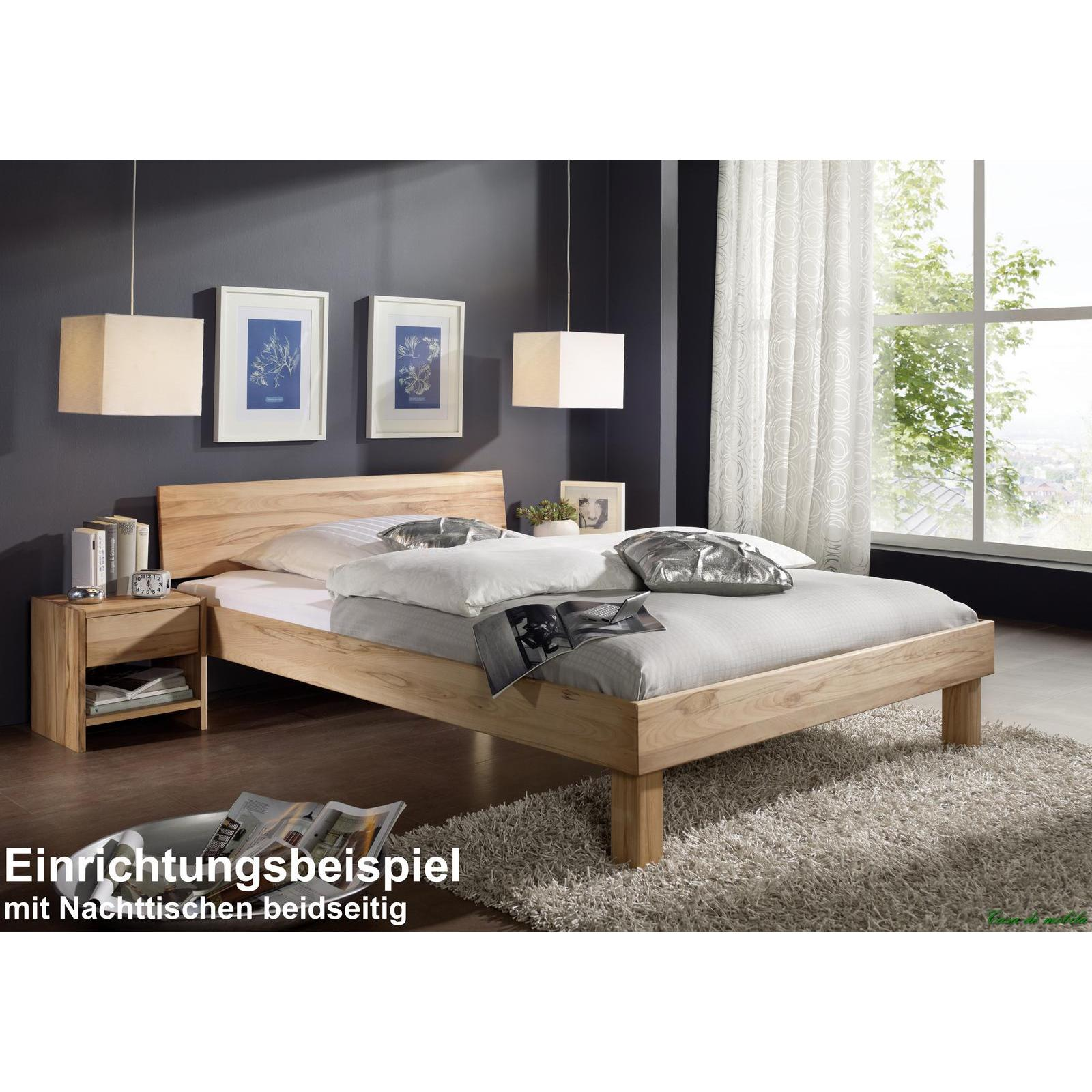 massivholz doppelbett kernbuche massiv ge lt holzbett campino bett 180x200 geschlossenes kopfteil. Black Bedroom Furniture Sets. Home Design Ideas