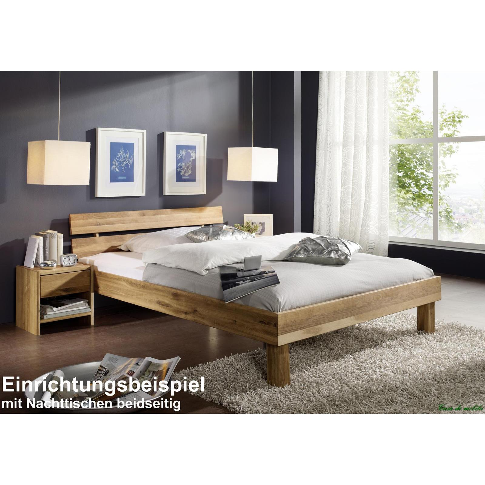 massivholz doppelbett mit schubladen eiche massiv bett. Black Bedroom Furniture Sets. Home Design Ideas
