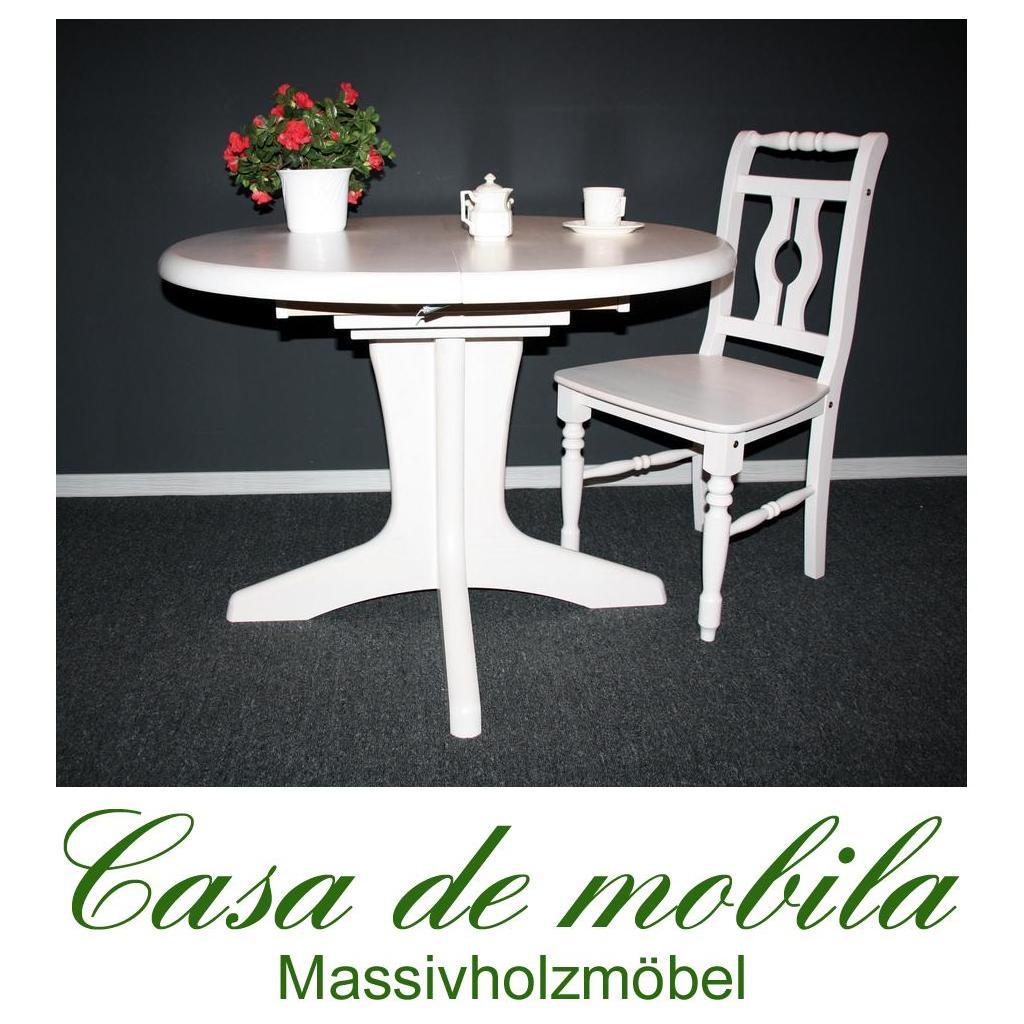vollholz ausziehtisch rund kiefer gelaugt lackiert kirsch weiss. Black Bedroom Furniture Sets. Home Design Ideas