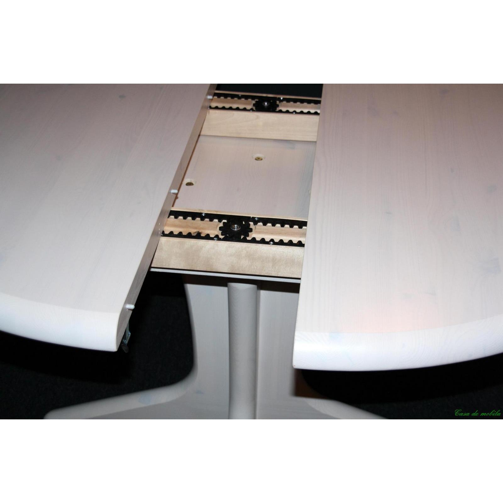 Esstisch Holz Weiss Lasiert ~ Esstisch Stella rund 120×120 mit Einlegeplatte  Kiefer massiv weiss
