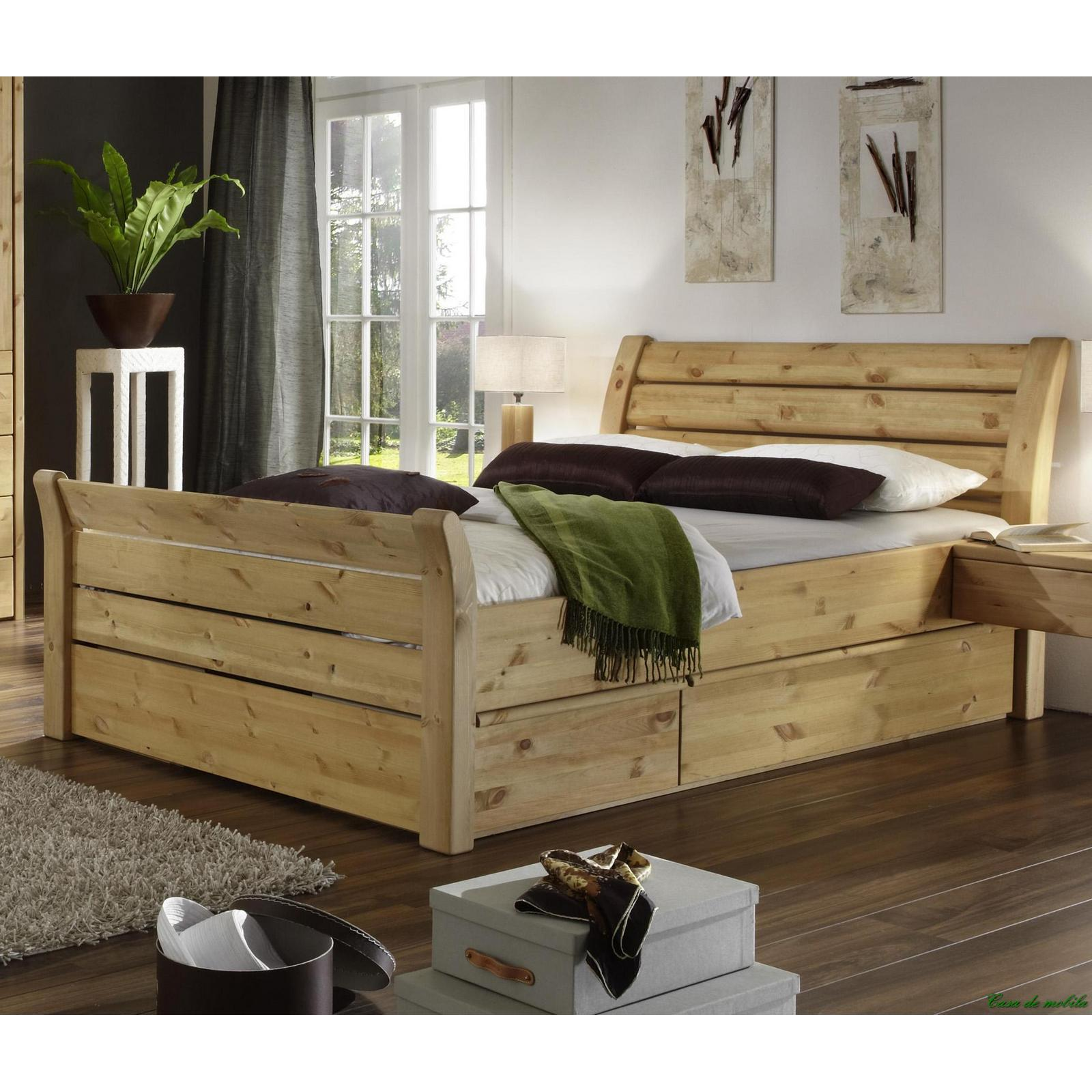 vollholz doppelbett landhausstil kiefer massiv lackiert 180 x 200 cm. Black Bedroom Furniture Sets. Home Design Ideas