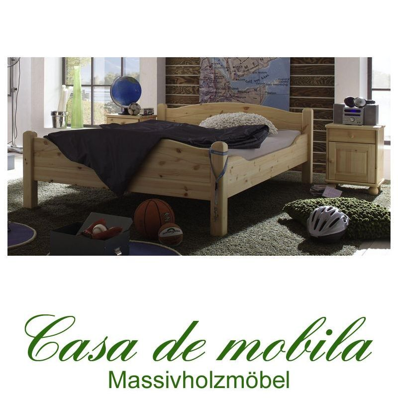 bettgestell doppelbett sonderl nge 160x220 roja kiefer massiv natur lackiert. Black Bedroom Furniture Sets. Home Design Ideas