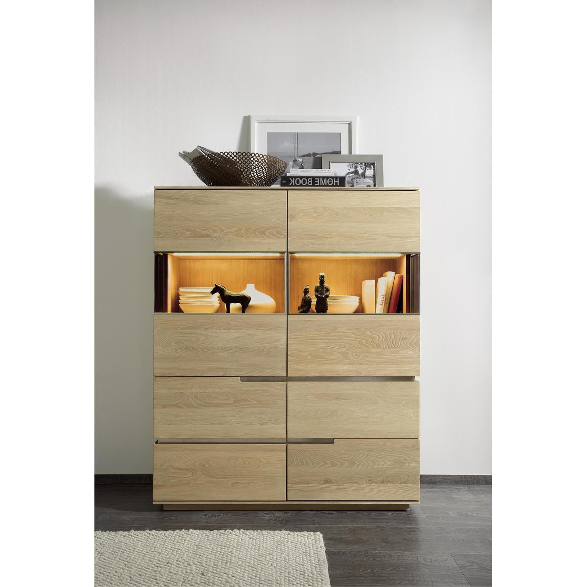 vitrinenschrank highboard wildeiche massiv bianco geb rstet ge lt acerro. Black Bedroom Furniture Sets. Home Design Ideas