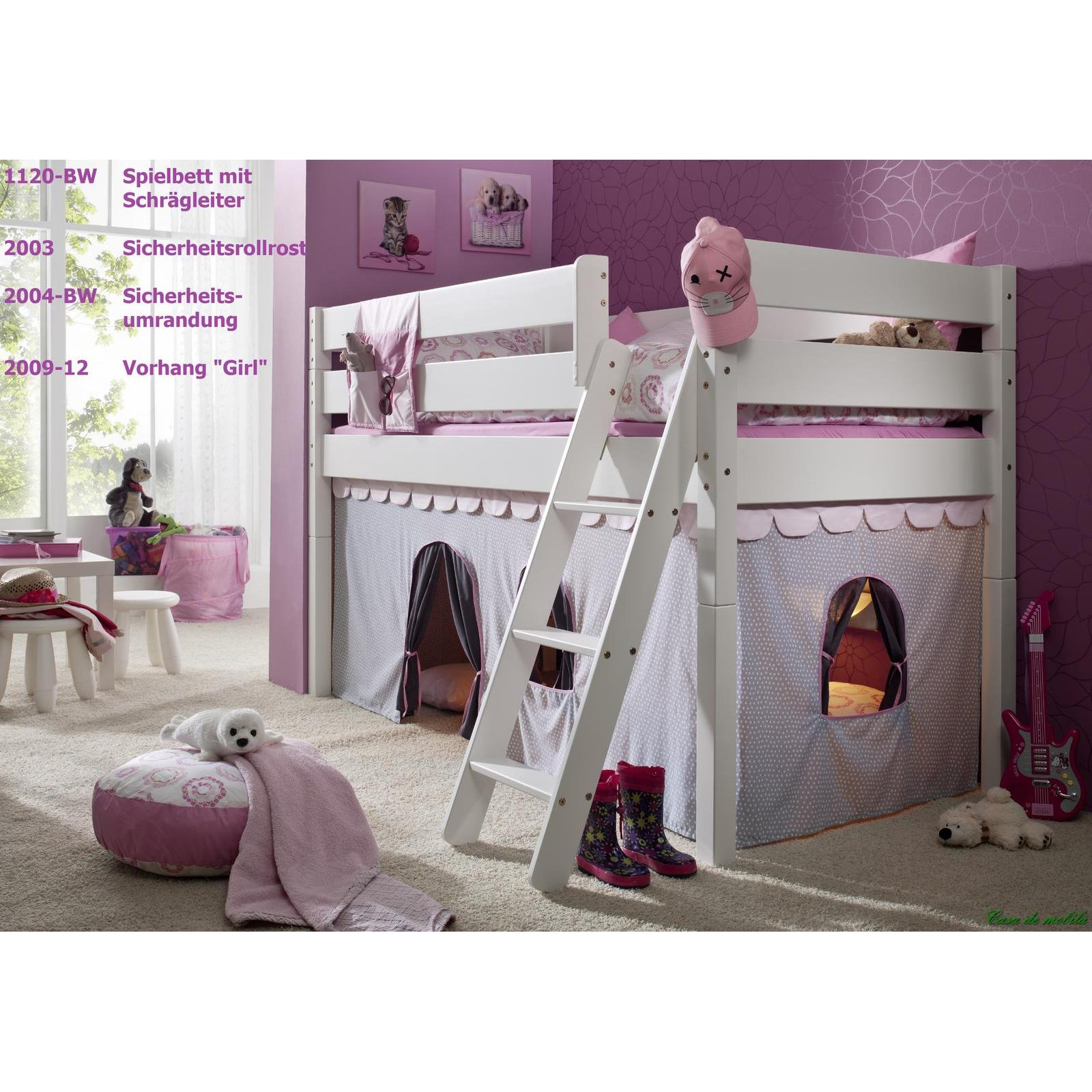 massivholz hochbett buche massiv wei hannover kinderbett mit vorhang und schr gleiter. Black Bedroom Furniture Sets. Home Design Ideas