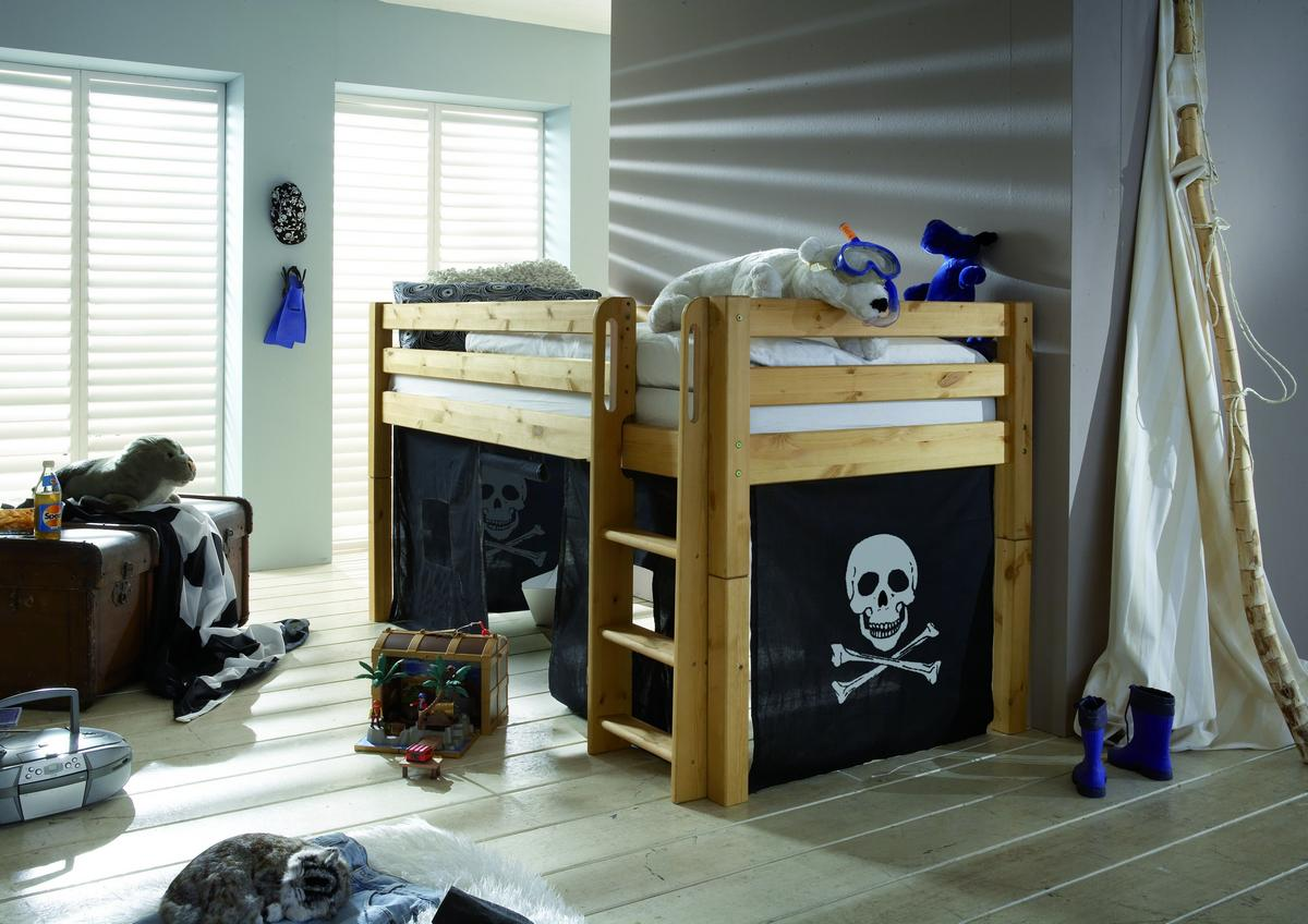 spielbett hochbett 90x200 mit vorhang pirat kiefer. Black Bedroom Furniture Sets. Home Design Ideas