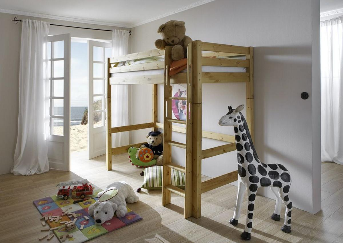 hochbett 90x200 kiefer massiv gelaugt ge lt bett einzelbett kinderbett mit 2 schubk sten. Black Bedroom Furniture Sets. Home Design Ideas
