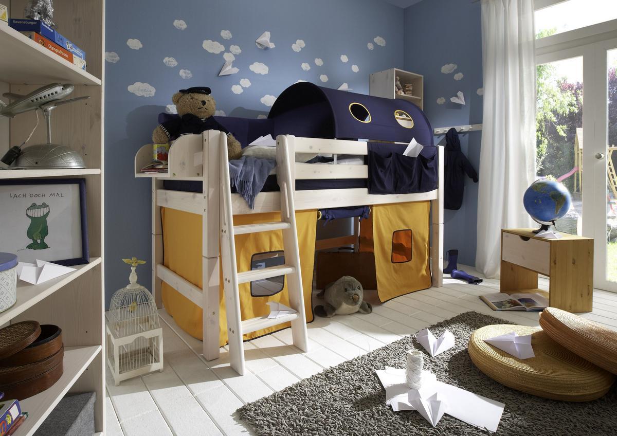 abenteuerbett hochbett 90x200 mit vorhang marine gelb kiefer massiv wei lasiert. Black Bedroom Furniture Sets. Home Design Ideas