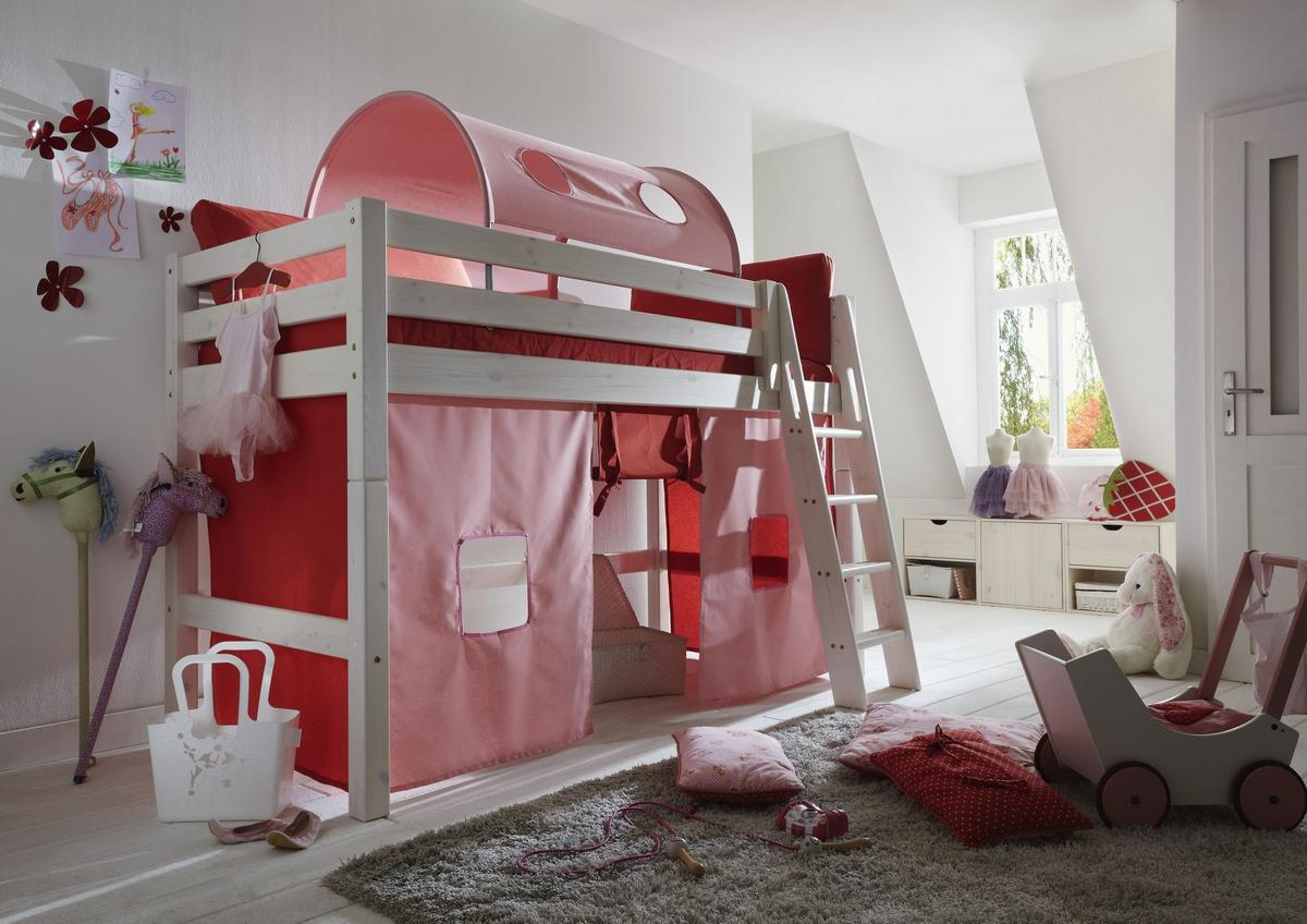 hochbett 90x200 mit vorhang rosa rot kiefer massiv wei lasiert. Black Bedroom Furniture Sets. Home Design Ideas