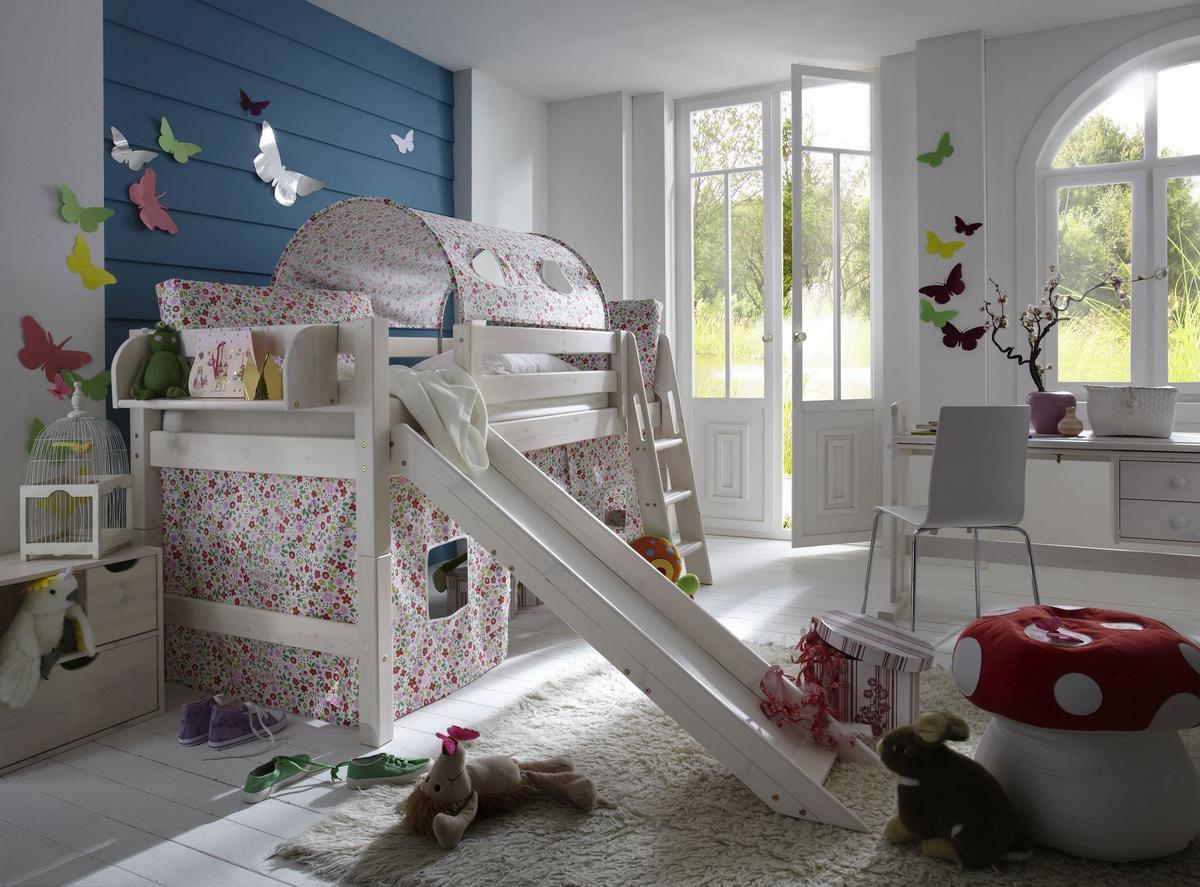 hochbett 90x200 mit rutsche und vorhang bl mchen kiefer massiv wei lasiert. Black Bedroom Furniture Sets. Home Design Ideas
