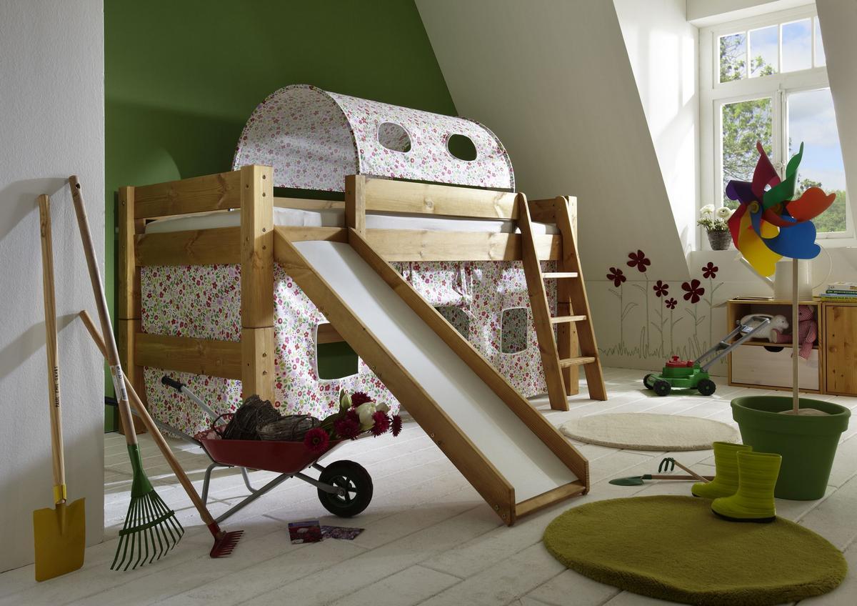 abenteuerbett hochbett mit rutsche tobykids kiefer massiv gelaugt ge lt natur lackiert bl mchen. Black Bedroom Furniture Sets. Home Design Ideas