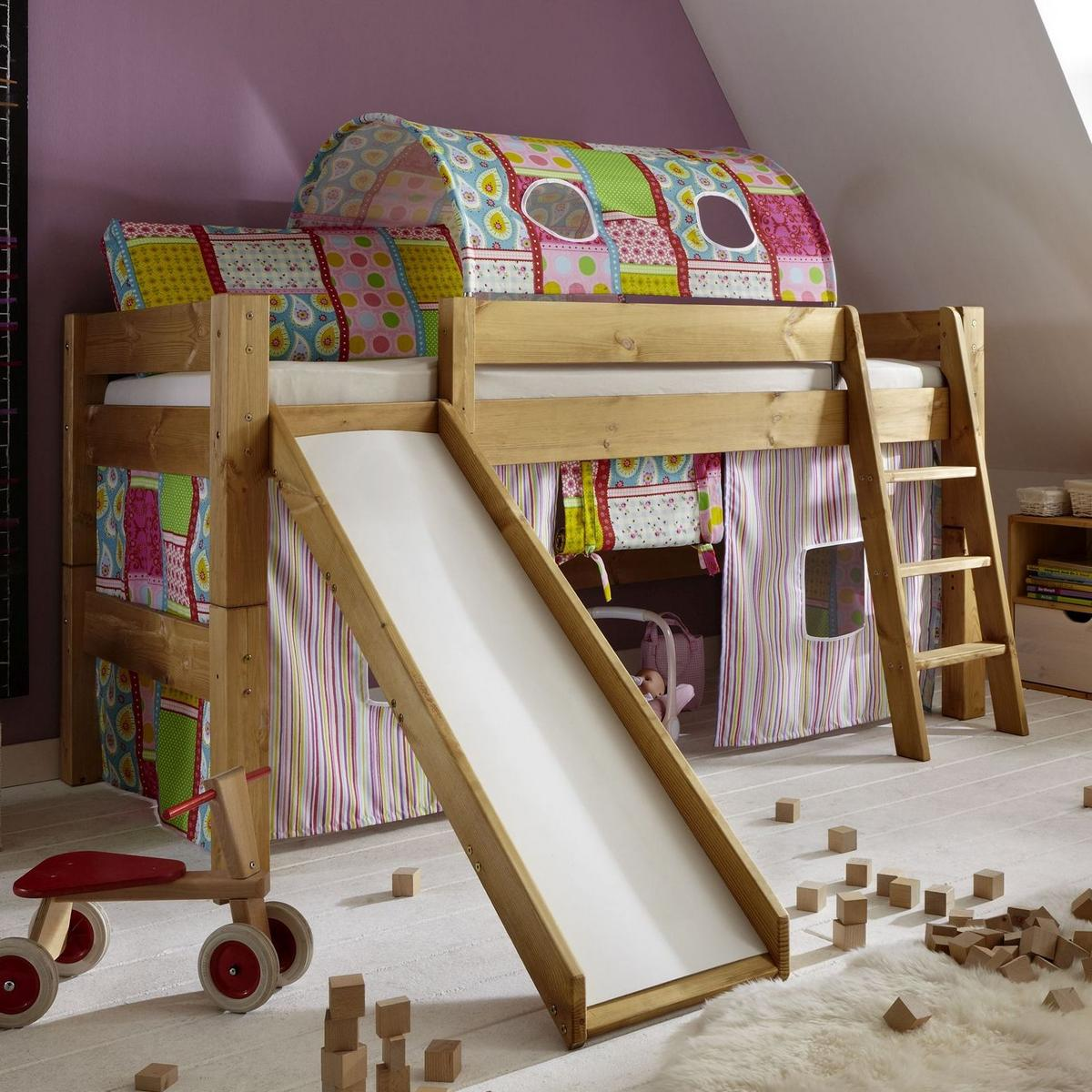 spielbett hochbett mit rutsche tobykids kiefer massiv gelaugt ge lt natur lackiert butterfly. Black Bedroom Furniture Sets. Home Design Ideas