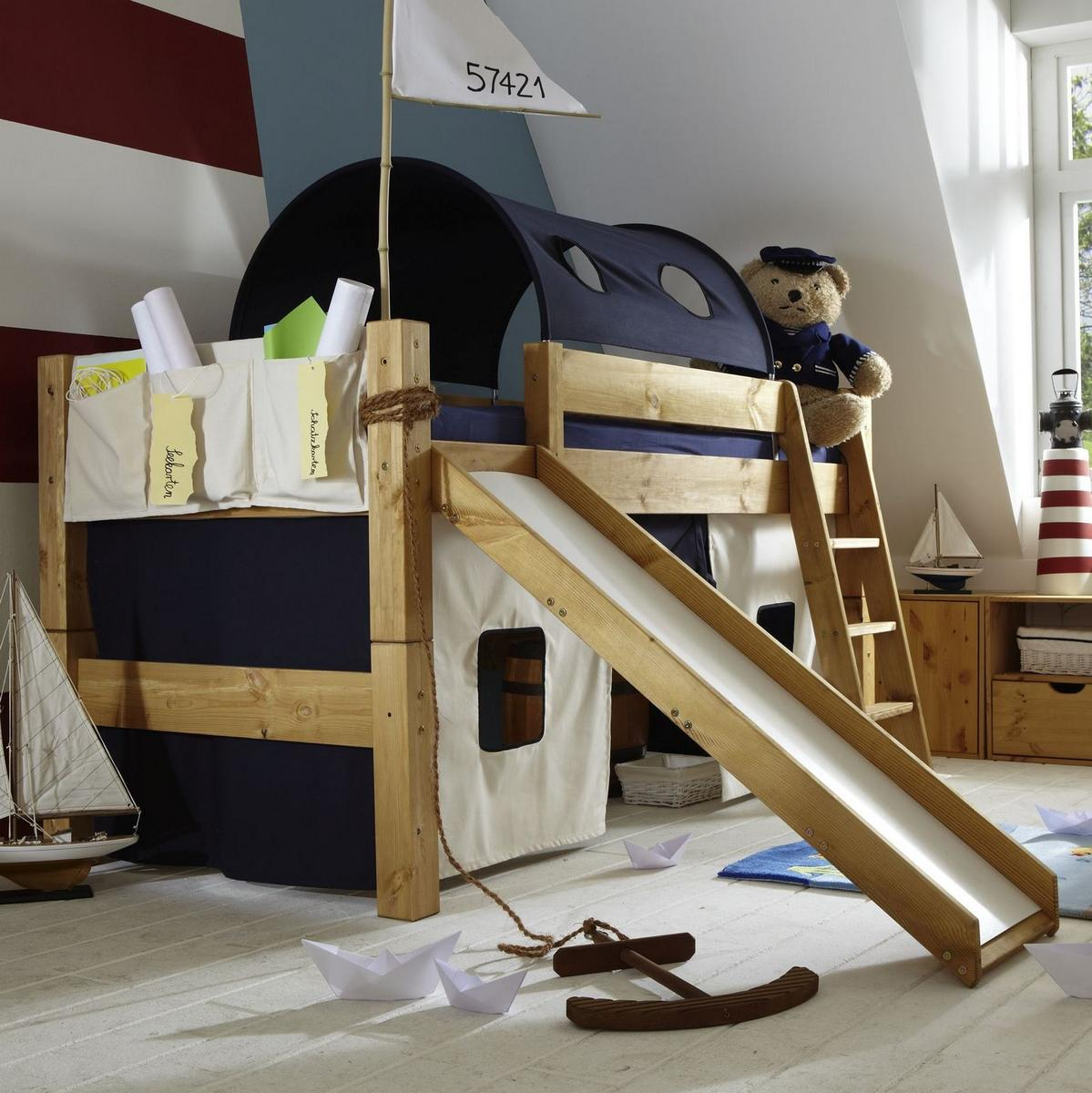 hochbett spielbett mit rutsche tobykids kiefer massiv gelaugt ge lt natur lackiert marine natur. Black Bedroom Furniture Sets. Home Design Ideas