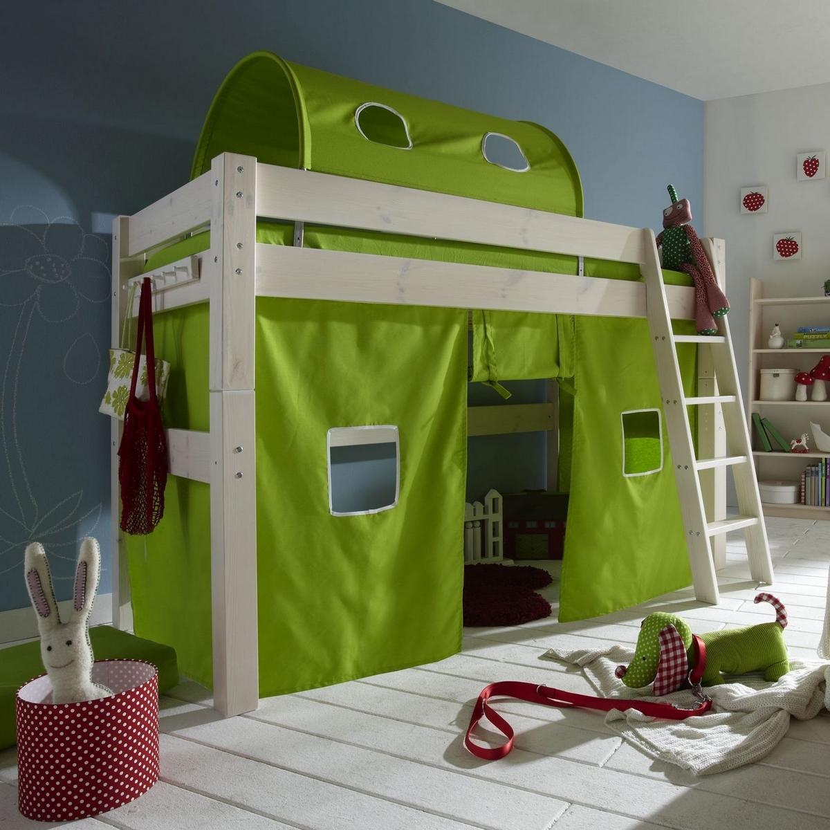 spielbett hochbett tobykids kiefer massiv wei lasiert lime. Black Bedroom Furniture Sets. Home Design Ideas
