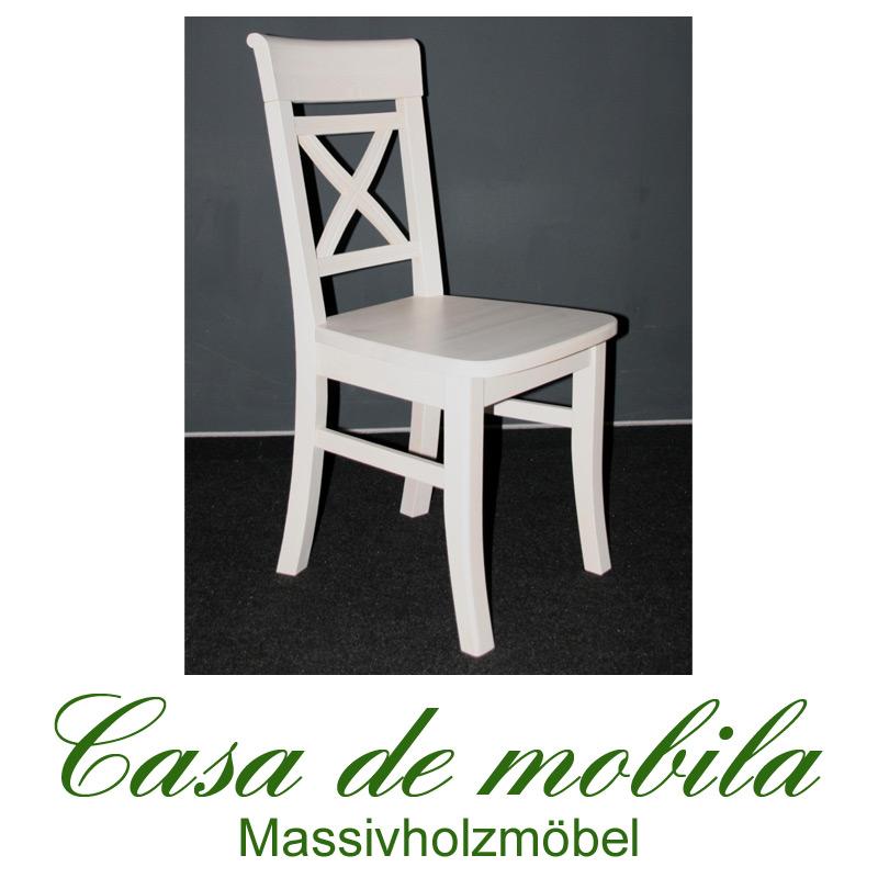 Stühle weiß landhaus  Landhaus Stuhl weiss lackiert Fjord - Holz Kiefer massiv bei Casa ...